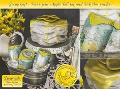 Lemonade Bucket with Drink Giver and Cake 4000 Members Group Gift by Apple Fall - Teleport Hub Lemon Drizzle Cake, Fall Gifts, Second Life, Lemonade, Bucket, Apple, Group, Drinks, Unisex