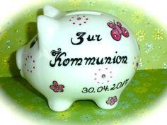 Geldgeschenke - Sparschwein Nr. 123  Kommunion pink - ein Designerstück von MM-Bastelparadies bei DaWanda