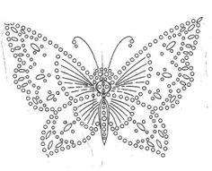 Vintage Embroidery Crochet Butterfly - Chart - I found some more embroidery transfers in my stash! They're really old but very pretty so I scanned them to keep and share. I'll probably pass on the originals to someone else, it seems… Embroidery Transfers, Embroidery Applique, Beaded Embroidery, Cross Stitch Embroidery, Embroidery Designs, Embroidery Sampler, Machine Embroidery, Butterfly Embroidery, Embroidery Thread