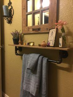 Turnbull Farms(TM) Reclaimed Wood and Pipe Towel Racks Towel Hangers For Bathroom, Bathroom Towels, Downstairs Bathroom, Master Bathroom, Galvanized Pipe, Decor Inspiration, Pipe Furniture, Hygge, Towel Racks