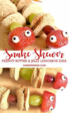 Head back to school with a fun surprise in their lunchbox when you put a twist on the regular pb&j with our Peanut Butter and Jelly Snake Skewers! Easy Meals For Kids, Fun Snacks For Kids, Healthy Eating For Kids, Easy Snacks, Healthy Foods To Eat, Kids Meals, Kid Snacks, Thumbprint Cookies, Peanut Recipes