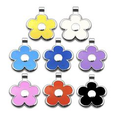 Flower Shape Dog ID Tags for Little Dogs ~ Tough nickel alloy with bright enamel accent colours ~ With Spring's arrival time to spruce up our dog's collars Dog Id Tags, Losing A Dog, Pet Id, Little Dogs, Flower Shape, Accent Colors, Back Home, Small Dogs, Colours