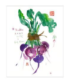 Purple radish print Kitchen art Watercolor print por lucileskitchen