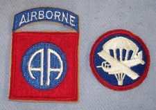 WWII Period 82nd Airborne Patch W/Attached Tab-Glider/Airborne Cap Patch