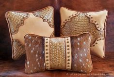 Western leather pillow Axis Deer fur home by stargazermercantile