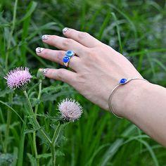 #bluechalcedony #jeanscolor #porcelain #silver #ring and #bracelet by #helenarohner