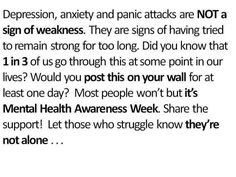 I have depression and social anxiety and I am open about that. I am not weak, and anyone else with this isn't weak, it's not your fault. You're not alone, stay strong <3