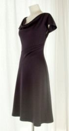 Free pattern: Cowl neck jersey dress with angled pleated waist · Sewing | CraftGossip.com