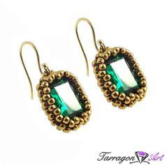 Kolczyki Beaded Emerald - Beaded / Kolczyki - Tarragon Art - stylowa biżuteria artystyczna