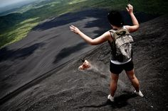 Volcano Boarding  (or surfing) is one of Central America's newest extreme sports. Cerro Negro, Leon, Nicaragua's youngest volcano and just over 700 meters tall, is one of the more popular spots. Photos by Anna-Claire Bevan/Tico Times