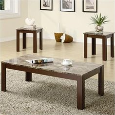 Faux marble top. Brown finish on legs and apron. Versatile with any décor. 3-piece set. Modern look