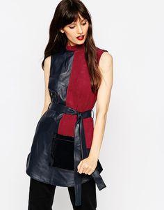 Image 1 ofASOS Premium Patchwork Leather High Neck Sleeveless Tunic