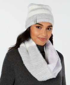 b997ca51091 Calvin Klein 2-Pc. Colorblocked Fuzzy Scarf   Hat Set - Purple Hat And