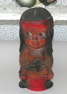 Vintage Chalkware Bank Carnival Prize Little Indian Boy | eBay