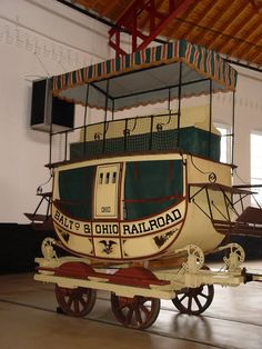 B Railroad Museum showcases an 1830s stagecoach on wheels from the earliest days of railroads