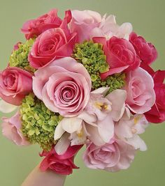 Pink and green bouquet with Orlando roses