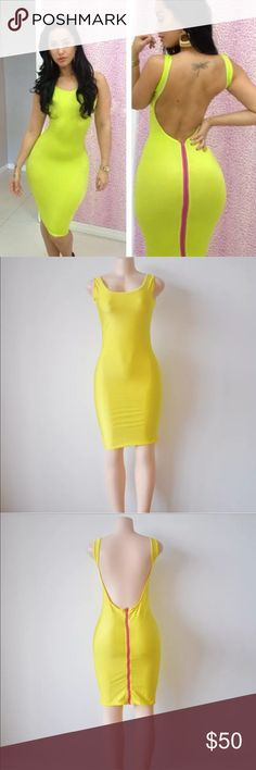 SEXIEST YELLOW MIDI DRESS!! 💛✔️ Super sexy hot tight midi dress , mid length bodycon style dress - ONLY 1 available !!!  ---- I'm usually a size small , but I am modeling the medium Dresses Midi