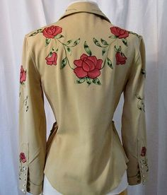 1950s Rodeo Queen gorgeous gabardine cowgirl suit with embroidered  pink roses