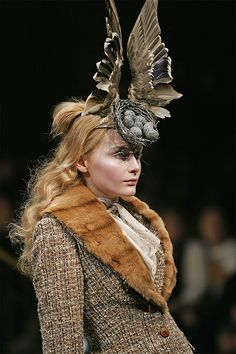 Bird's Nest headdress with Swarovski gemstones, Widows of Culloden, Autumn/Winter 2006–07. Philip Treacy and Shaun Leane for Alexander McQueen. Model: Snejana Onopka, Image: Courtesy Swarovski Archive