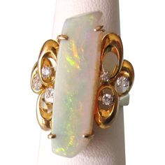 SALE!  Exquisite 14K Fancy Cut Large Australian Fire Opal and Diamond Ring, Size 6-5/8, 7.4 Grams - Gorgeous! -- found at www.rubylane.com @rubylanecom #VintageBeginsHere