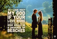 """""""…if your love were a grain of sand mine would be a thousand beaches"""" Westley – The Princess Bride motivational inspirational love life quot..."""