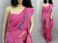 Latest Saree Blouse, Silk Saree Blouse Designs, Saree Blouse Patterns, Dress Patterns, Saree Embroidery Design, French Knot Embroidery, Embroidery Neck Designs, Black Cotton Saree, Indian Silk Sarees
