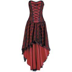 """Robe corset The """"Mollflander""""  - dentelle à motif floral  - 11 baleines en silicone - partie lacée  - fermeture éclair sur le côté  - doublure : 100% Coton  - Longueur devant : 80 cm, longueur dos : 127 cm"""
