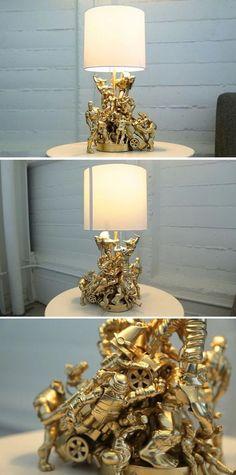 Cool and DIY Lamp Ideas for Teenage Boys Bedroom | Action Figure Lamp by DIY Ready at http://diyready.com/easy-diy-teen-room-decor-ideas-for-boys/:
