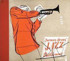 FB / Norman Granz' Jazz at the Philharmonic Vol. 6 Clef Records LP (sans date) - Cover by David Stone Martin Cover Art, Vinyl Cover, Era Album, Musik Illustration, David Stone, Inspiration Artistique, Classic Jazz, Jazz Poster, Saul Bass