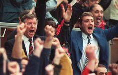 Alex Ferguson & Steve Bruce celebrate a goal vs Nottingham Forest at Old Trafford in 1996 Steve Bruce, Sir Alex Ferguson, Nottingham Forest, Manchester United Football, Professional Football, Old Trafford, Revolution, Goal, The Unit