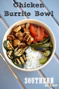 Healthy Chicken and Rice Burrito Bowl - Gluten free, low fat recipe- use brown non-instant rice