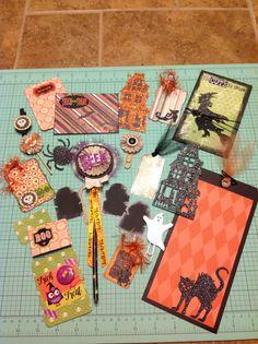 Halloween loaded envelope goodies/embellishments Halloween Paper Crafts, Halloween Bags, Envelope Maker, Scrapbook Paper Crafts, Scrapbooking, Snail Mail Pen Pals, Pocket Envelopes, Candy Cards, Pocket Letters