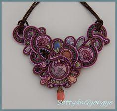 Lila rózsás romantika - aszimmetrikus sujtás nyaklánc / Purple Rose Romance - asymmetrical necklace soutache
