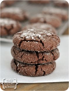 Chewy Chocolate Sugar Cookies by Mel's Kitchen Cafe...she says these are unbelievable!