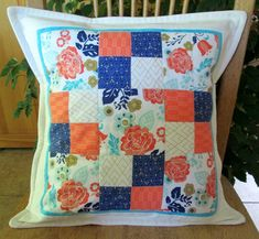 """Quilted patchwork pillow cover in floral and graphic prints of white, coral, aqua, deep blue and gold. Pillow cover only for 16""""insert by CottonandWhimsy on Etsy Large Pillows, Decorative Cushions, Throw Pillows, Patchwork Pillow, Quilted Pillow, Handmade Pillow Covers, Handmade Pillows, Coral Aqua, Wow Products"""