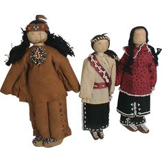 3 Vintage Native American Indian Beaded Dolls Corn husk Leather ...