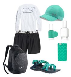 """Rafting outfit"" by tjbirdie ❤ liked on Polyvore featuring Under Armour, Chaco, Vineyard Vines, NIKE, FOSSIL and Essie"