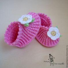 Для новорожденных, ручной работы. Ярмарка Мастеров - ручная работа. Купить Пинетки-туфельки для Ульянки. Handmade. Розовый, пинетки крючком