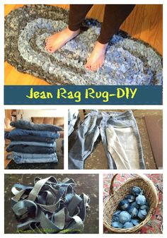 Don't toss out those old jeans-Follow our DIY to make a Jean Rag Rug!! Easy to make!!http://lauraslittlehousetips.com/denim-rug-give-old-jeans-new-life-diy/