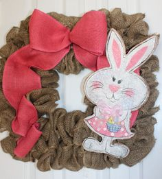 Bunnyful Square Burlap Wreath by 2MusesDesign on Etsy, $40.00