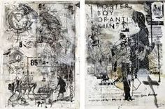 I like the layering in this...maybe we could do the same words you have but in a very different way of layering of different scales of simple lie drawings...I think this could be good!!!Image result for mixed media artists exploring pollution