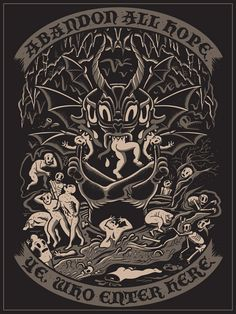 Dave Quiggle Dante's Inferno 18 x 24 Screen Print printed on black French Paper Signed Hand numbered. Limited to only 50.