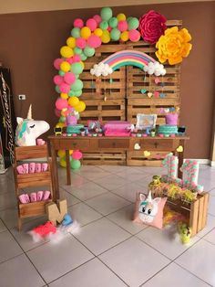 There are plenty of birthday ideas for kids. Birthday Party Ideas For Kids - Art & Craft Unicorn Themed Birthday Party, Rainbow Birthday Party, First Birthday Parties, Birthday Party Themes, Girl Birthday Decorations, Baby Party, Marie, Party Ideas, Craft Art