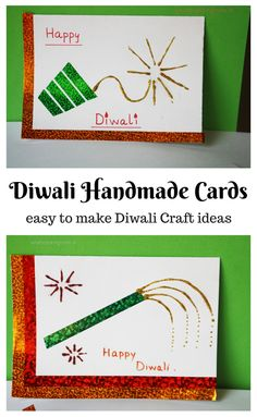 handmade cards for Diwali - easy Diwali craft - mansi patel - Hotel Diwali Food, Diwali Diy, Diwali Rangoli, Happy Diwali, Diwali Card Making, Card Making For Kids, Cue Cards, Cards Diy, Preschool Crafts