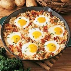 sheepherders breakfast: Cook onions and bacon in a skillet, add hashbrowns and cook until brown. Dig out a little hole for each egg, crack them into the hole. Cover and cook until eggs are done.