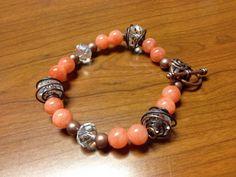 Copper and peach bracelet