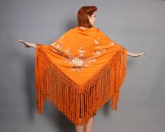 20s ORANGE Silk Piano SHAWL / Floral Embroidery & by LuckyDryGoods, $175.00