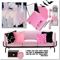 Pink and black.. by gul07 on Polyvore featuring interior, interiors, interior design, home, home decor, interior decorating, MOROSO, Crosley Radio & Furniture, Kate Spade and WallPops