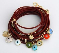 Red Leather Wrapping Bracelet with Multi Evil Eye Charms
