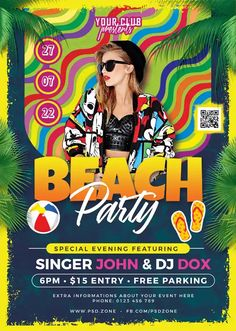 Download the Beach Party Free Flyer Template! - Free Club Flyer, Free Flyer Templates, Free Party Flyer, Free Summer Flyer - #FreeClubFlyer, #FreeFlyerTemplates, #FreePartyFlyer, #FreeSummerFlyer - #Club, #DJ, #Electro, #Music, #Night, #Nightclub, #Party